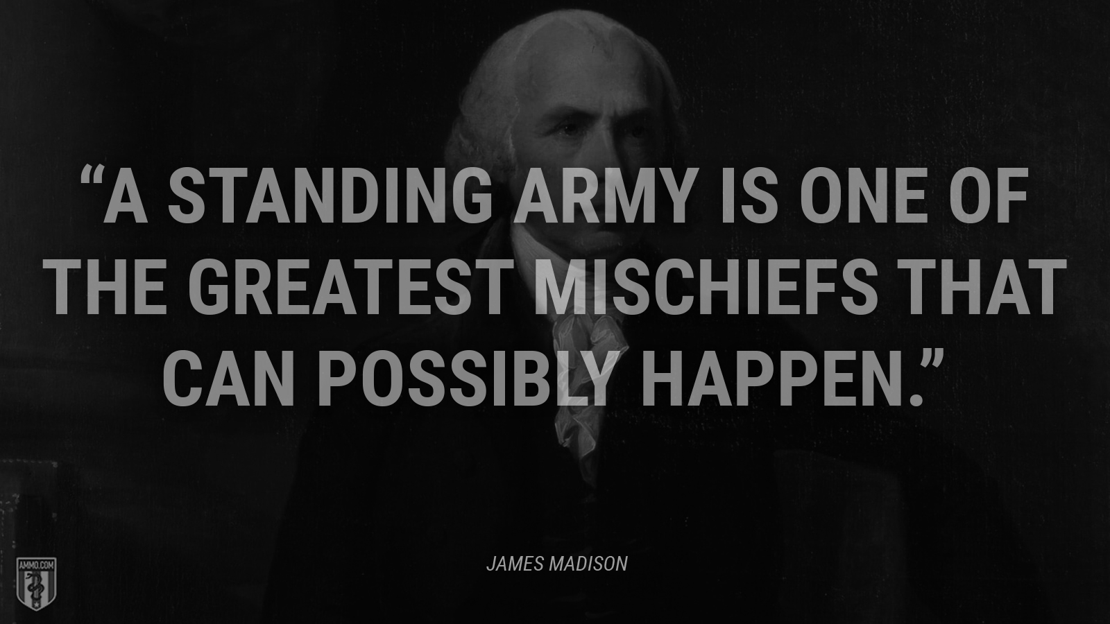 """A standing army is one of the greatest mischiefs that can possibly happen."" - James Madison"