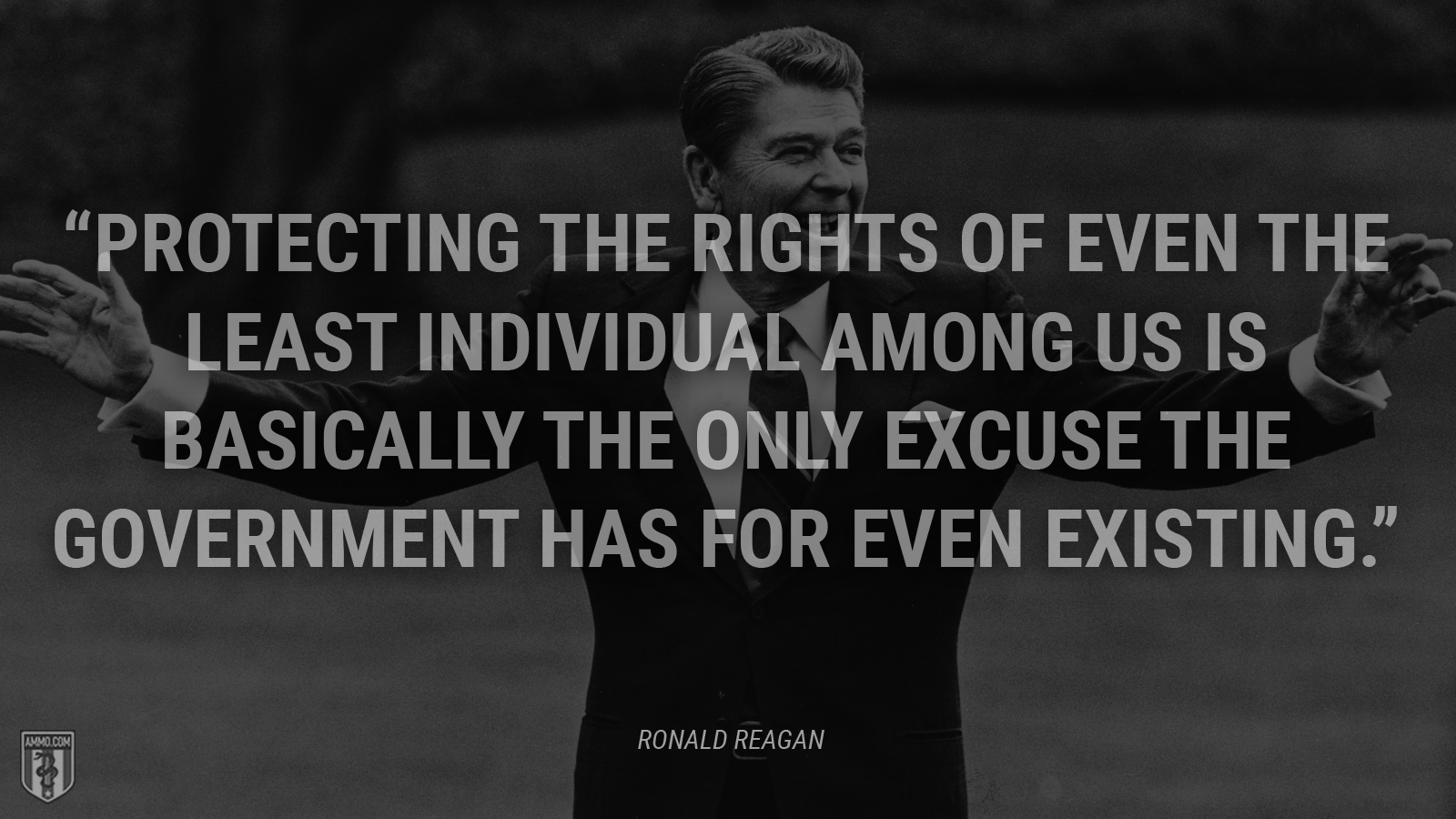 """Protecting the rights of even the least individual among us is basically the only excuse the government has for even existing."" - Ronald Reagan"
