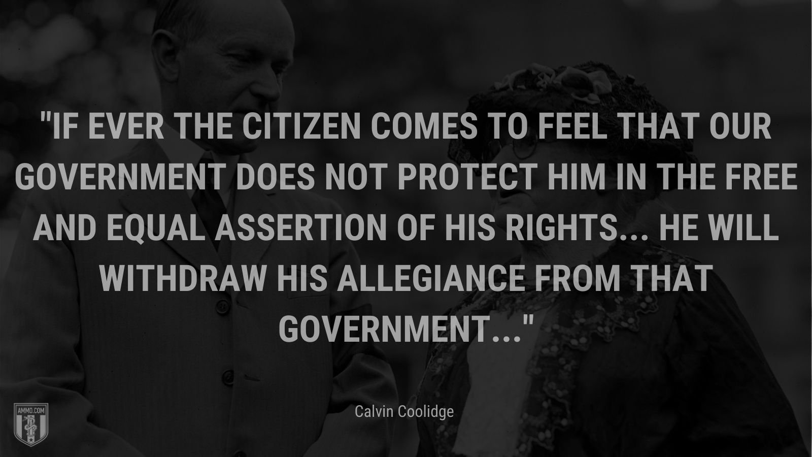 """""""If ever the citizen comes to feel that our government does not protect him in the free and equal assertion of his rights... he will withdraw his allegiance from that government..."""" - Calvin Coolidge"""