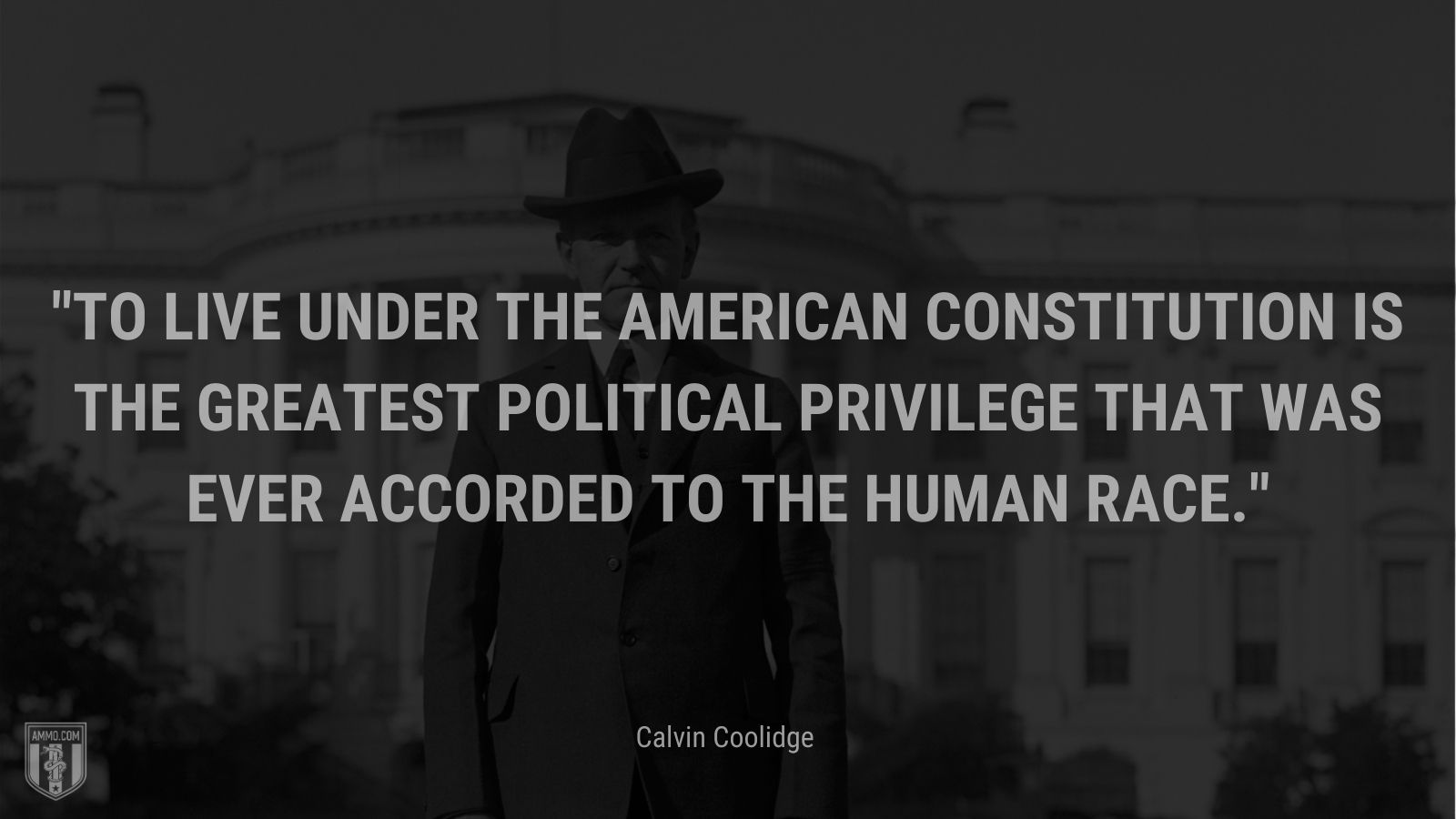"""""""To live under the American Constitution is the greatest political privilege that was ever accorded to the human race."""" - Calvin Coolidge"""
