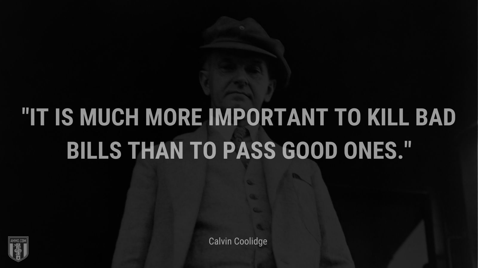 """""""It is much more important to kill bad bills than to pass good ones."""" - Calvin Coolidge"""