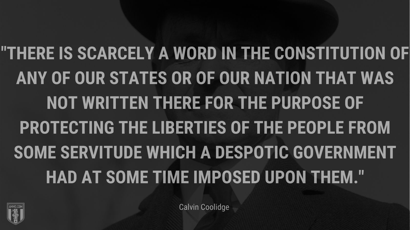 """""""There is scarcely a word in the constitution of any of our States or of our nation that was not written there for the purpose of protecting the liberties of the people from some servitude which a despotic government had at some time imposed upon them."""" - Calvin Coolidge"""