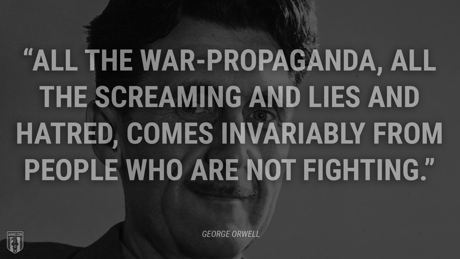 """All the war-propaganda, all the screaming and lies and hatred, comes invariably from people who are not fighting."" - George Orwell"