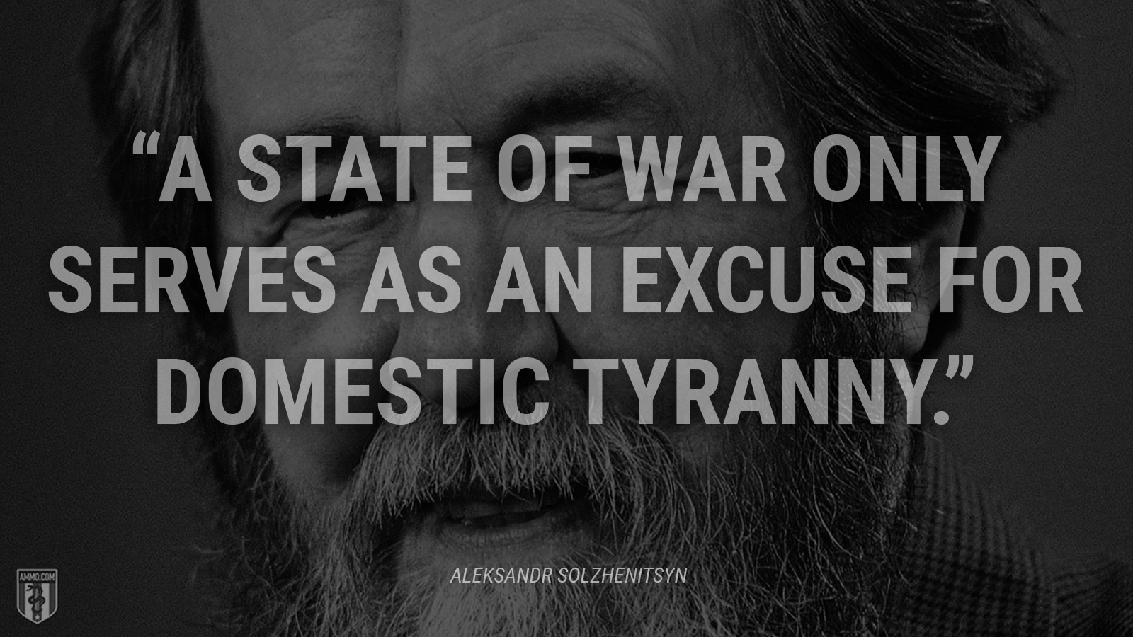"""A state of war only serves as an excuse for domestic tyranny."" - Aleksandr Solzhenitsyn"