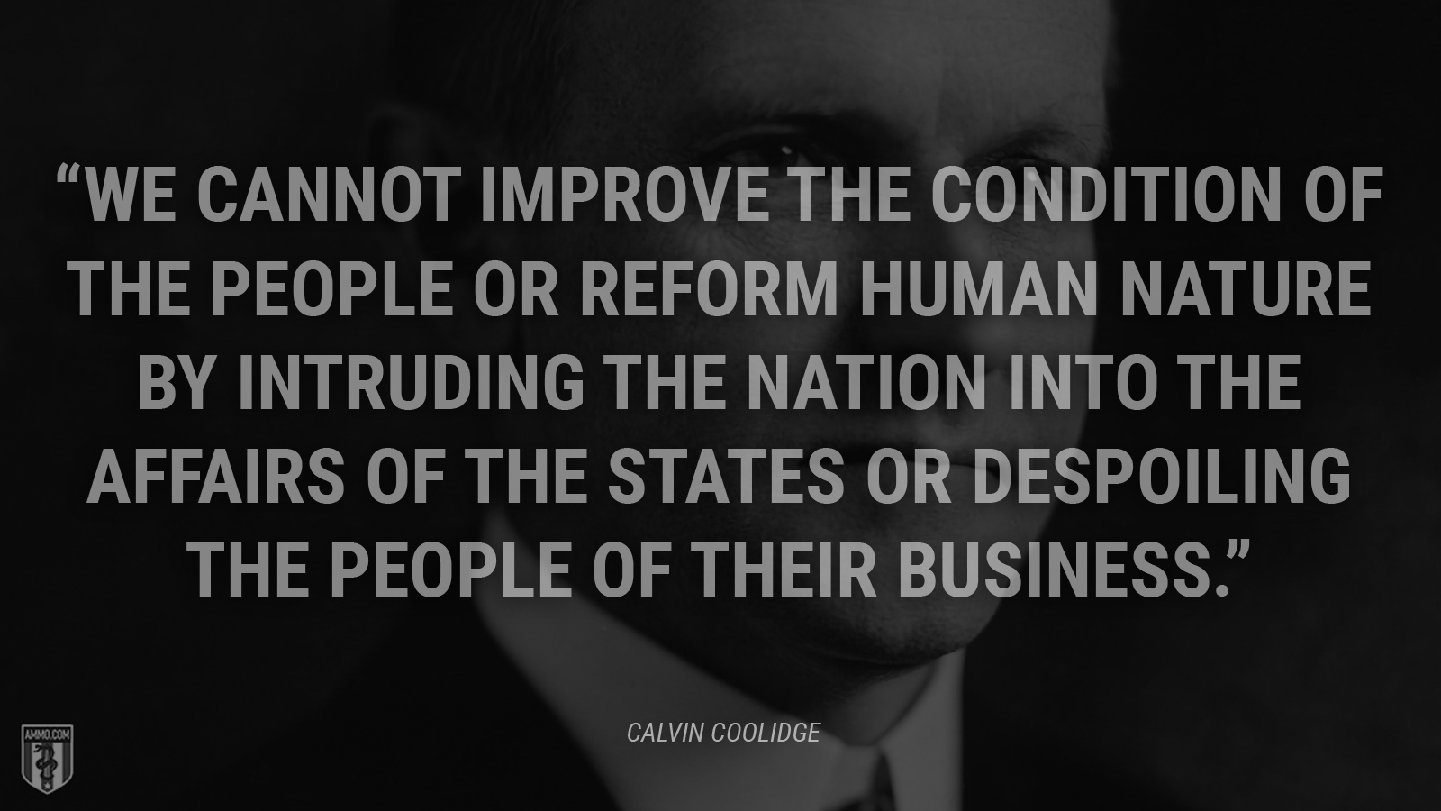 """We cannot improve the condition of the people or reform human nature by intruding the Nation into the affairs of the States or despoiling the people of their business."" - Calvin Coolidge"