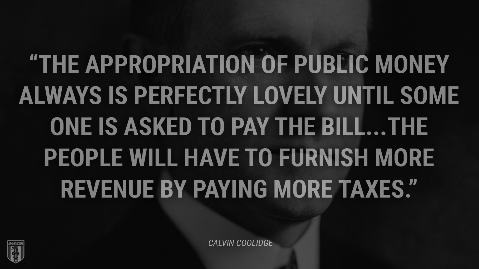 """The appropriation of public money always is perfectly lovely until some one is asked to pay the bill...the people will have to furnish more revenue by paying more taxes."" - Calvin Coolidge"