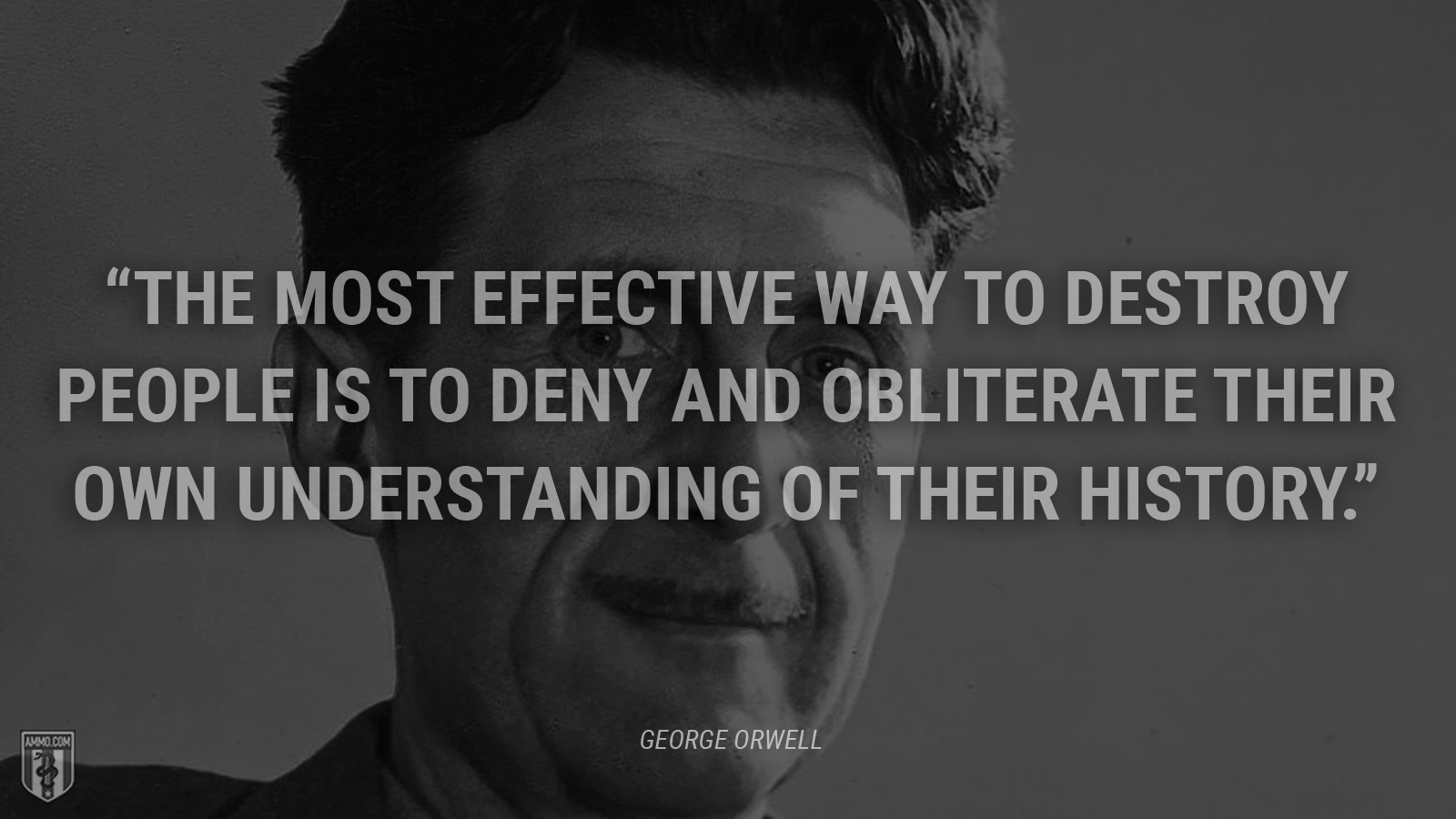 """The most effective way to destroy people is to deny and obliterate their own understanding of their history."" - George Orwell"