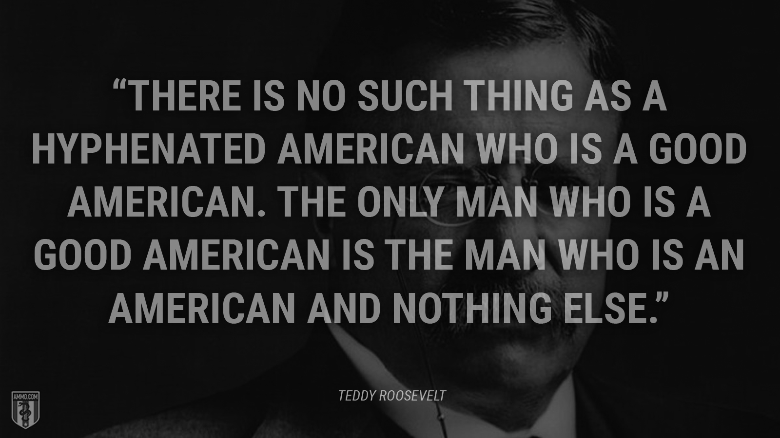 """There is no such thing as a hyphenated American who is a good American. The only man who is a good American is the man who is an American and nothing else."" - Theodore Roosevelt"