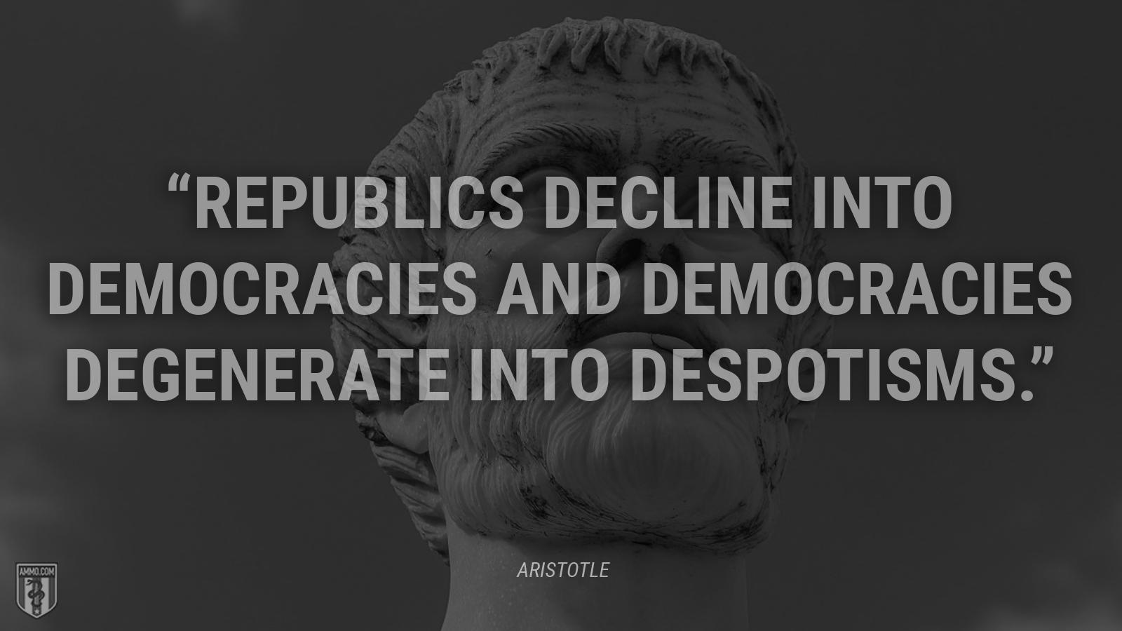 """Republics decline into democracies and democracies degenerate into despotisms."" - Aristotle"