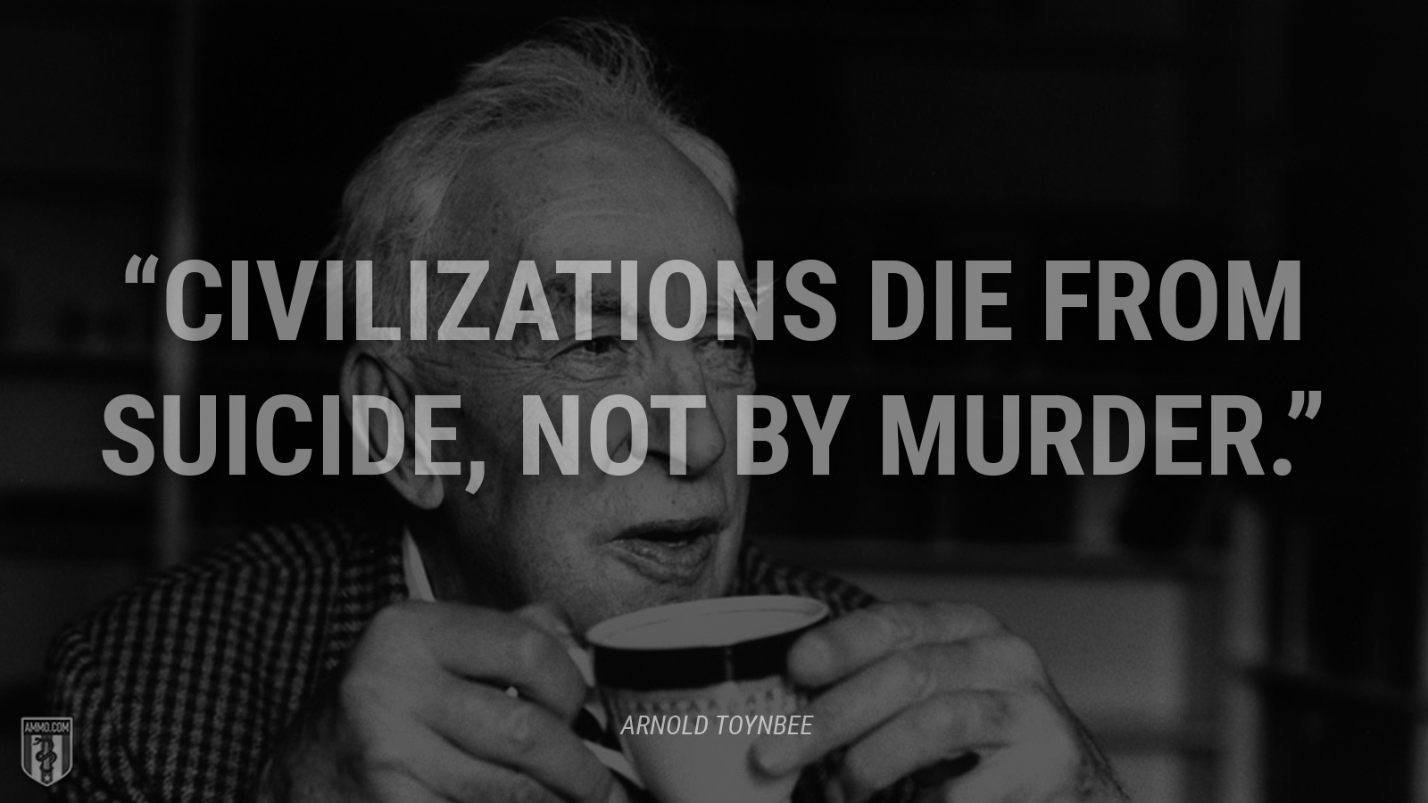 """Civilizations die from suicide, not by murder."" - Arnold Toynbee"