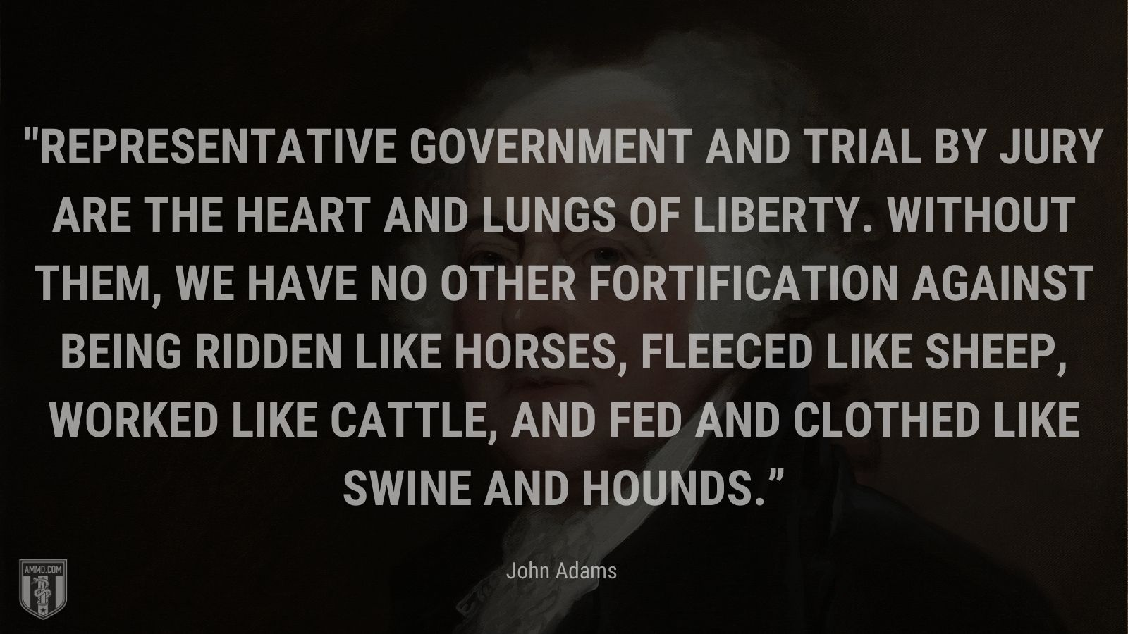 """""""Representative government and trial by jury are the heart and lungs of liberty. Without them, we have no other fortification against being ridden like horses, fleeced like sheep, worked like cattle, and fed and clothed like swine and hounds."""" - John Adams"""