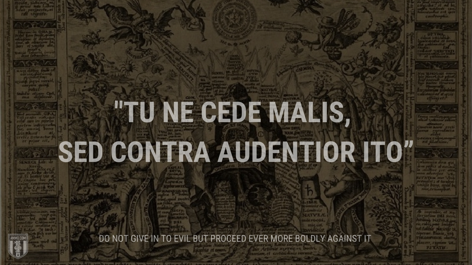 """""""Tu ne cede malis, sed contra audentior ito"""" - Do not give in to evil but proceed ever more boldly against it"""