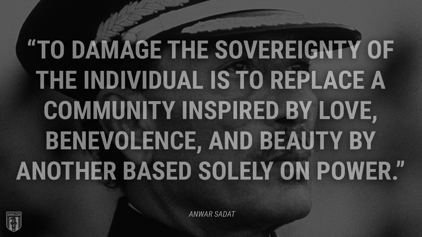 """To damage the sovereignty of the individual is to replace a community inspired by love, benevolence, and beauty by another based solely on power."" - Anwar Sadat"