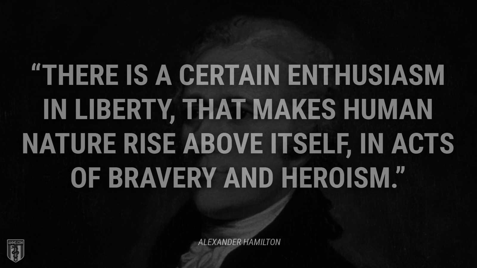 """There is a certain enthusiasm in liberty, that makes human nature rise above itself, in acts of bravery and heroism."" - Alexander Hamilton"
