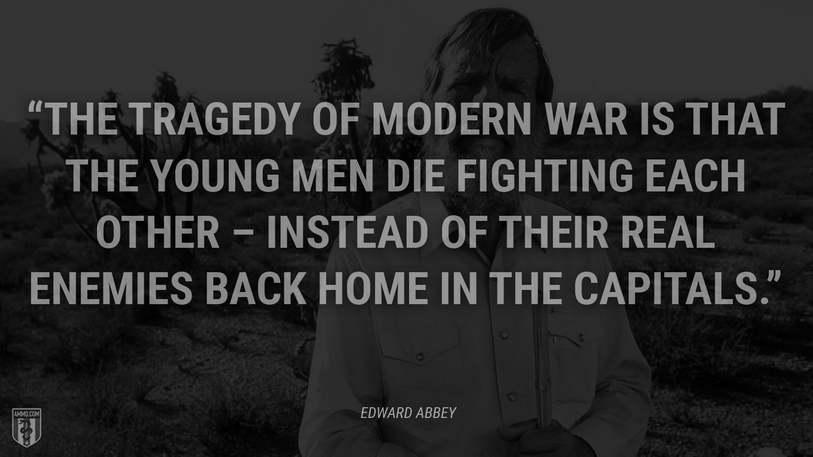 """The tragedy of modern war is that the young men die fighting each other – instead of their real enemies back home in the capitals."" - Edward Abbey"