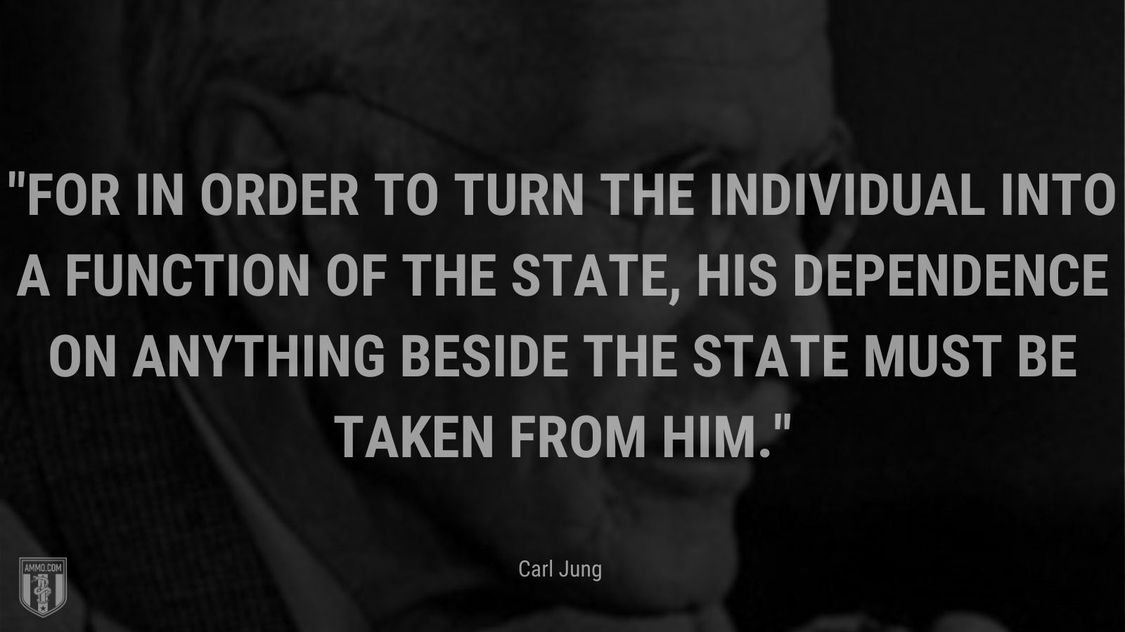 """""""For in order to turn the individual into a function of the State, his dependence on anything beside the State must be taken from him. - Carl Jung"""