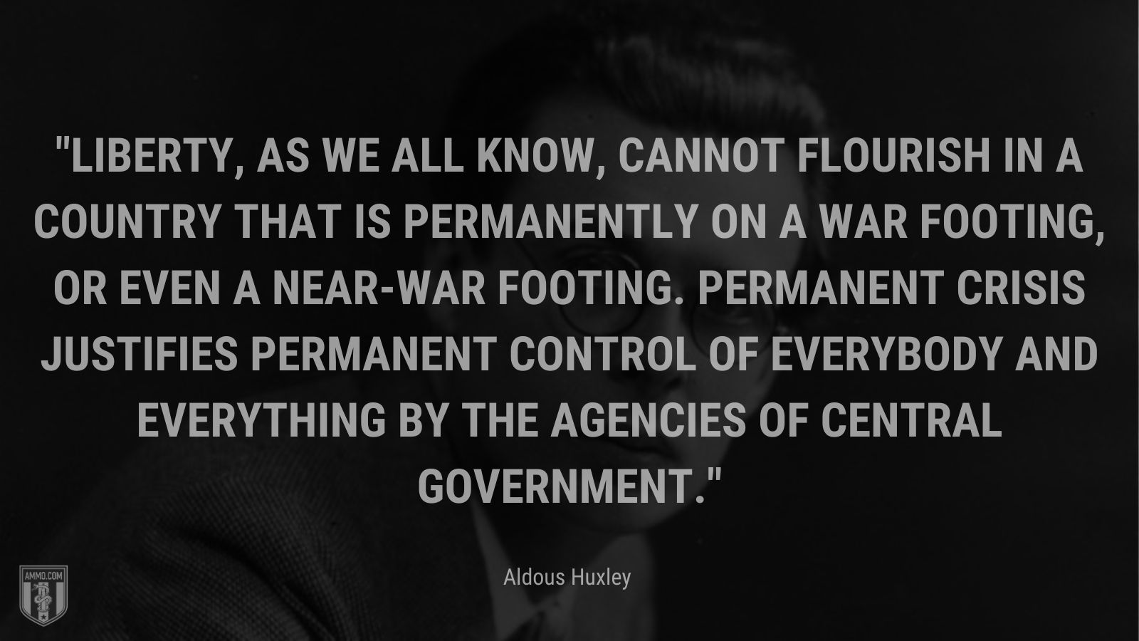 """""""Liberty, as we all know, cannot flourish in a country that is permanently on a war footing, or even a near-war footing. Permanent crisis justifies permanent control of everybody and everything by the agencies of central government. - Aldous Huxley"""