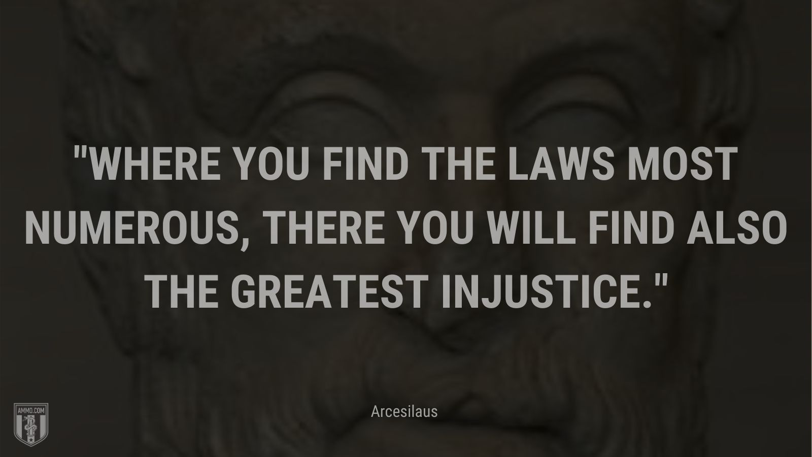 """""""Where you find the laws most numerous, there you will find also the greatest injustice."""" - Arcesilaus"""