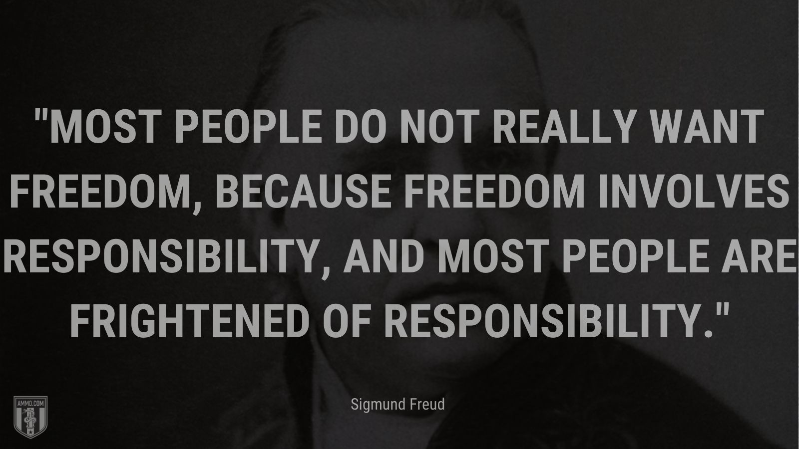 """""""Most people do not really want freedom, because freedom involves responsibility, and most people are frightened of responsibility. - Sigmund Freud"""