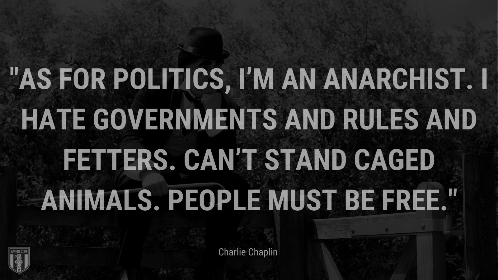"""""""As for politics, I'm an anarchist. I hate governments and rules and fetters. Can't stand caged animals. People must be free. - Charlie Chaplin"""