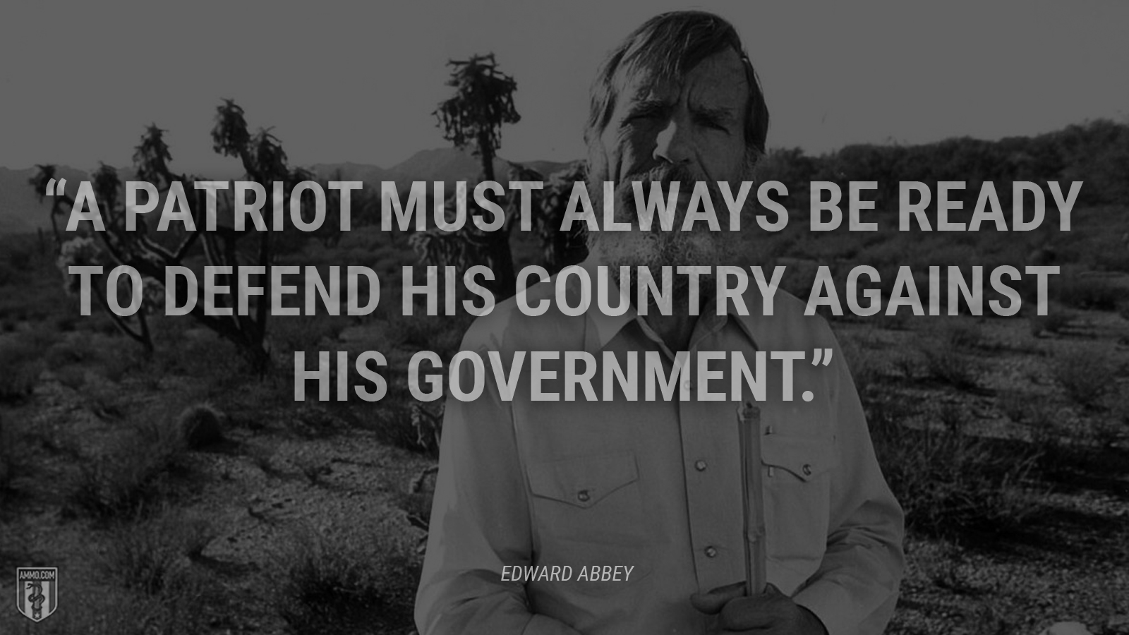 """A patriot must always be ready to defend his country against his government."" - Edward Abbey"