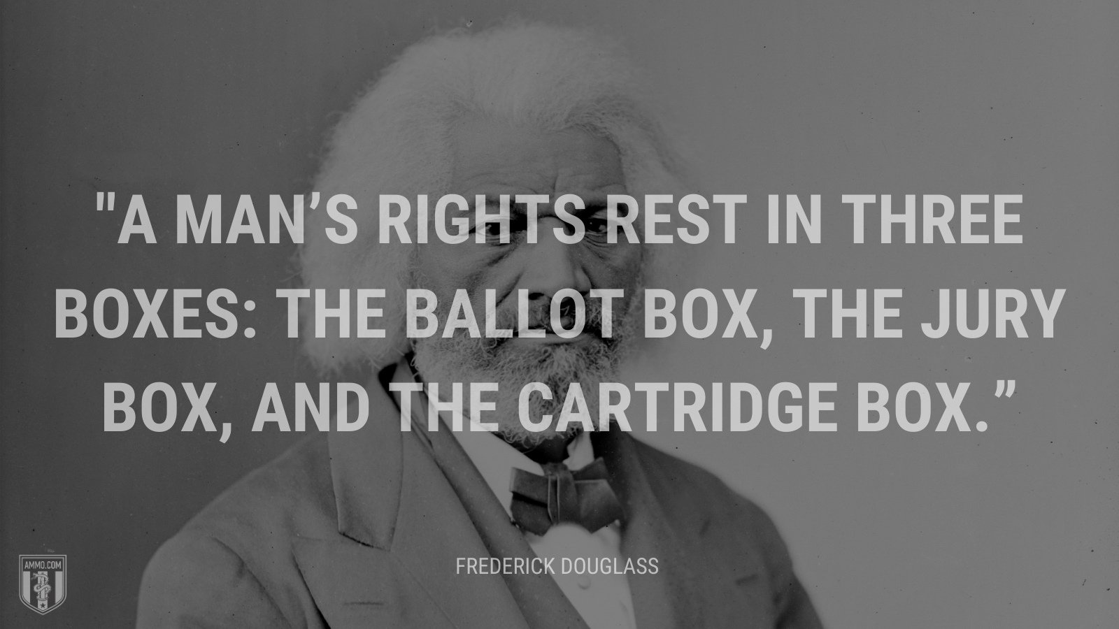 """""""A man's rights rest in three boxes: the ballot box, the jury box, and the cartridge box."""" - Frederick Douglass"""