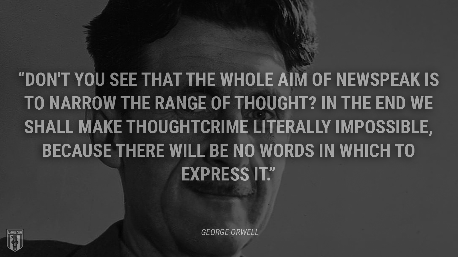 """Don't you see that the whole aim of Newspeak is to narrow the range of thought? In the end we shall make thoughtcrime literally impossible, because there will be no words in which to express it."" - George Orwell"
