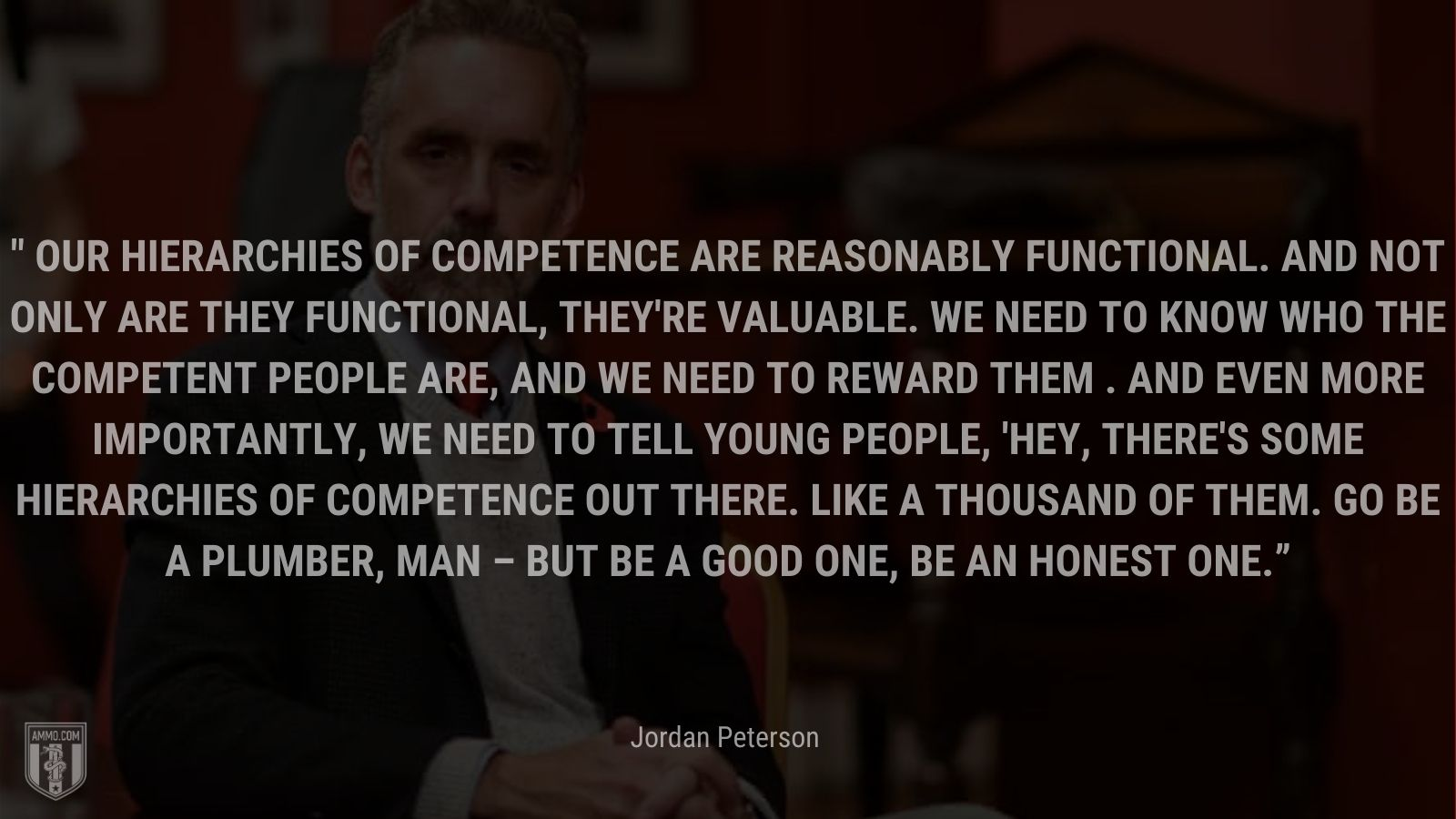 """""""Our hierarchies of competence are reasonably functional. And not only are they functional, they're valuable. We need to know who the competent people are, and we need to reward them. And even more importantly, we need to tell young people, 'Hey, there's some hierarchies of competence out there. Like a thousand of them. Go be a plumber, man – but be a good one, be an honest one."""" - Jordan Peterson"""