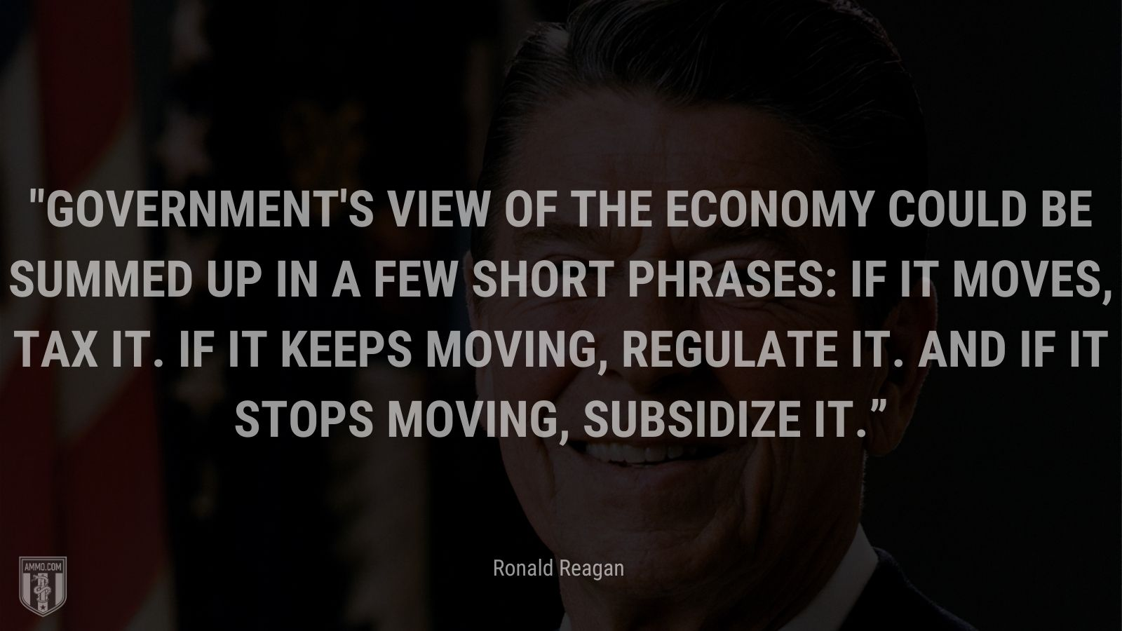 """""""Government's view of the economy could be summed up in a few short phrases: If it moves, tax it. If it keeps moving, regulate it. And if it stops moving, subsidize it."""" - Ronald Reagan"""