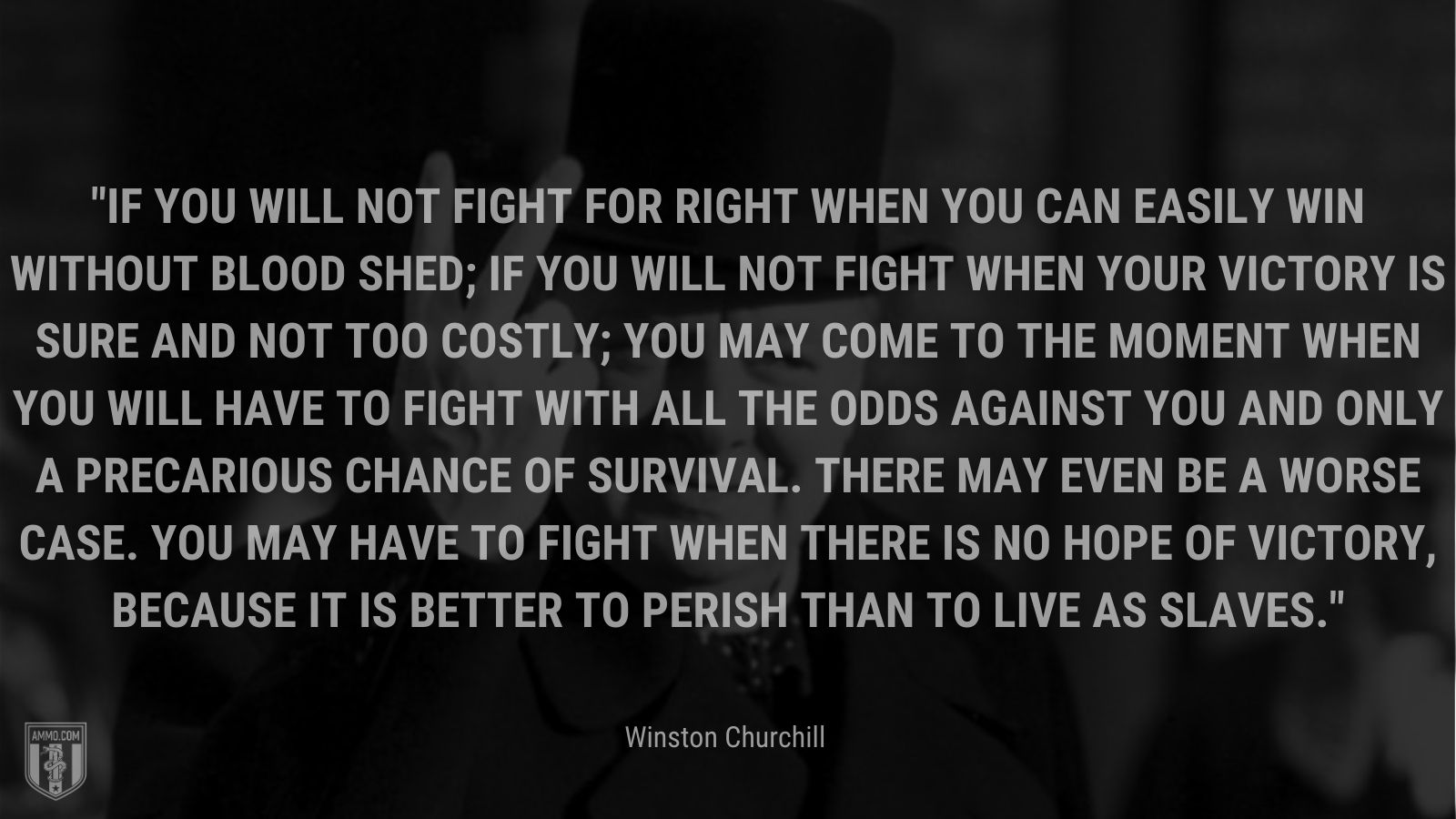 If you will not fight for right when you can easily win without blood shed; if you will not fight when your victory is sure and not too costly; you may come to the moment when you will have to fight with all the odds against you and only a precarious chance of survival. There may even be a worse case. You may have to fight when there is no hope of victory, because it is better to perish than to live as slaves.